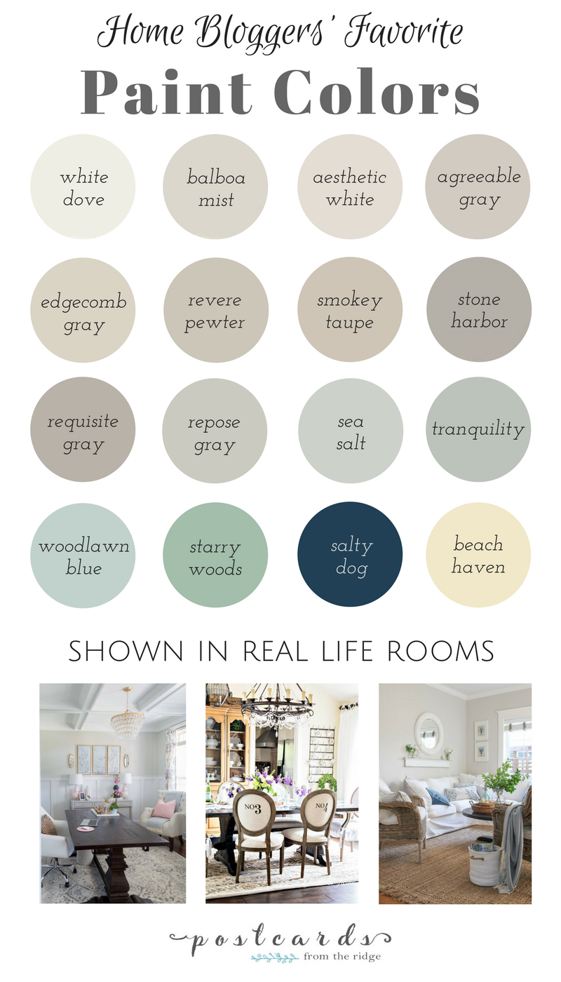 Tried And True Paint Colors Shown In Home Bloggers Homes Benjamin Moore Sherwin Williams And Farmhouse Paint Colors Popular Paint Colors Room Paint Colors