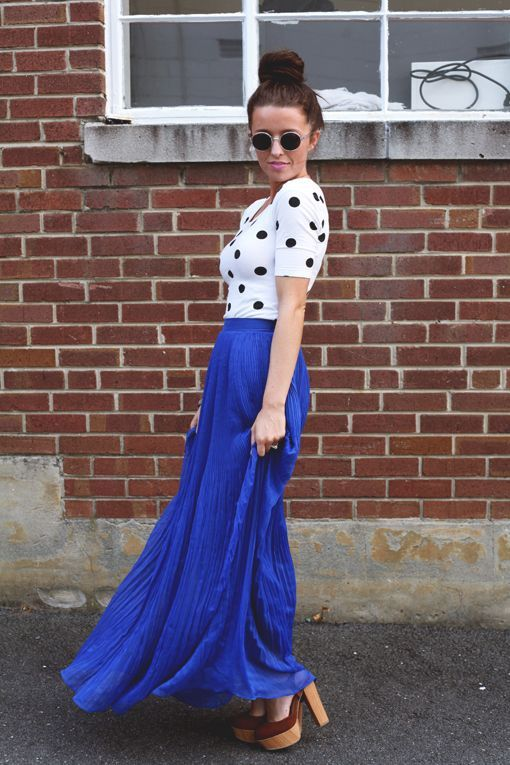 8238ab0b194b Royal Blue Maxi Skirt - excellent to pair with your favorite stacked heels  or wedges.