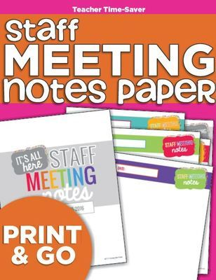 Staff Meeting Notes Paper {Simple} from KindergartenWorks on - staff meeting agenda