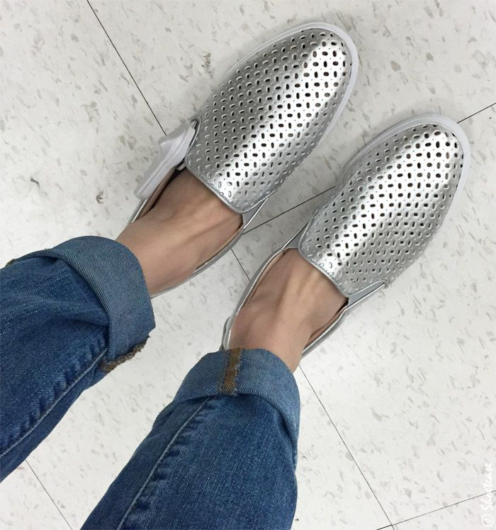 Nine West silver perforated slip on sneakers - shoe shopping at dixie outlet mall