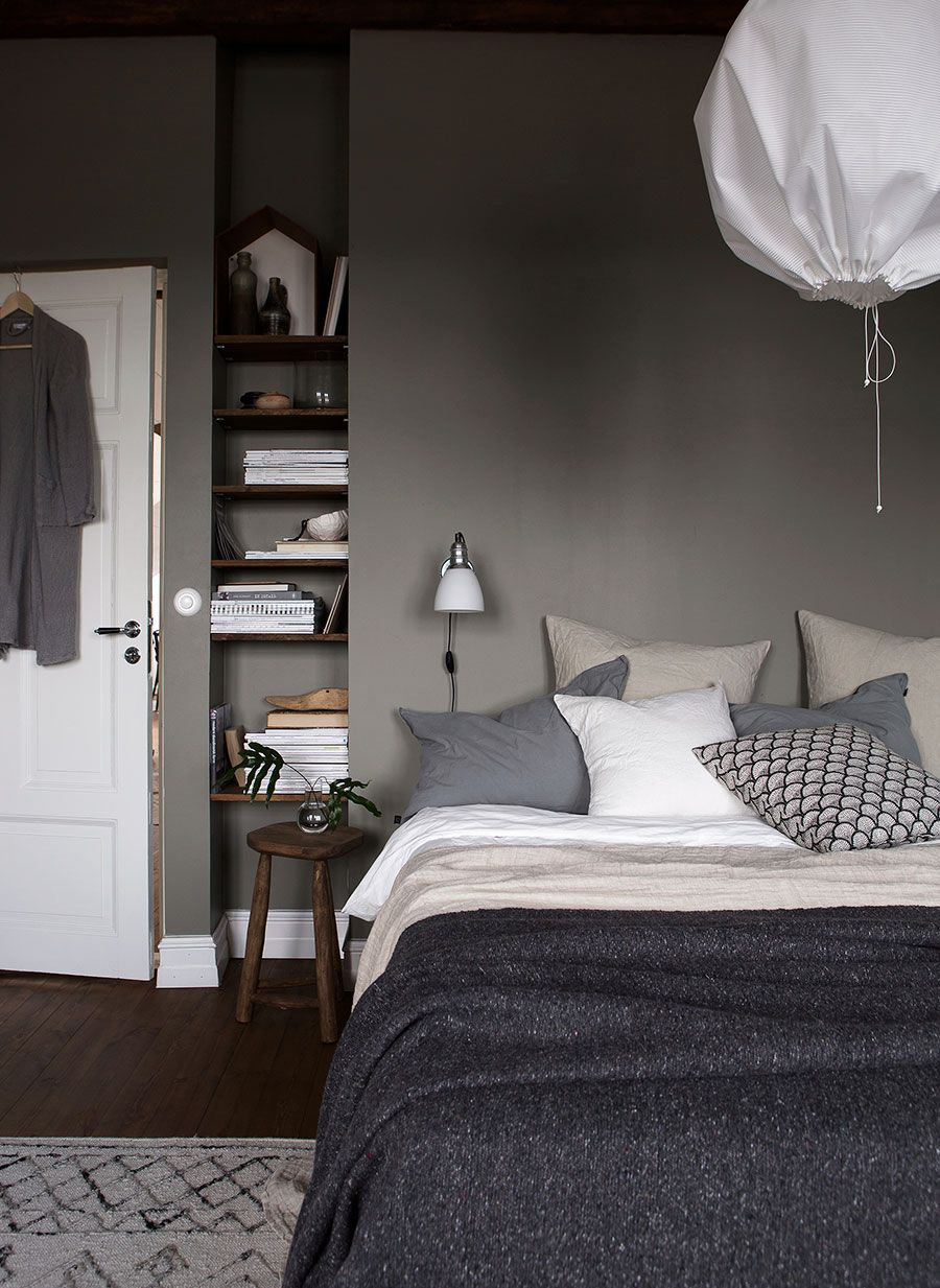 grey bedroom with wooden shelves in a small niche | bedroom - blog