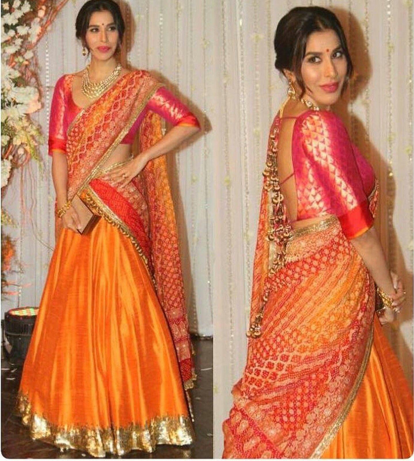 Wedding Hairstyle On Saree: Orange Pink Half Saree, Pretty Combo