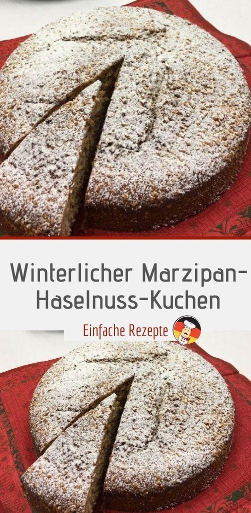Wintry marzipan and hazelnut cake