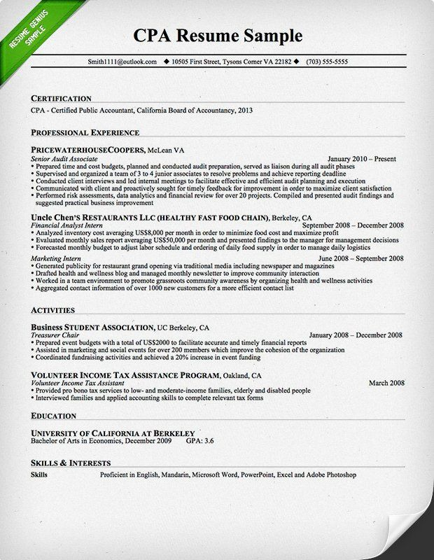 CPA Resume Sample diaries Pinterest Writing guide and Interiors - accountant resume samples