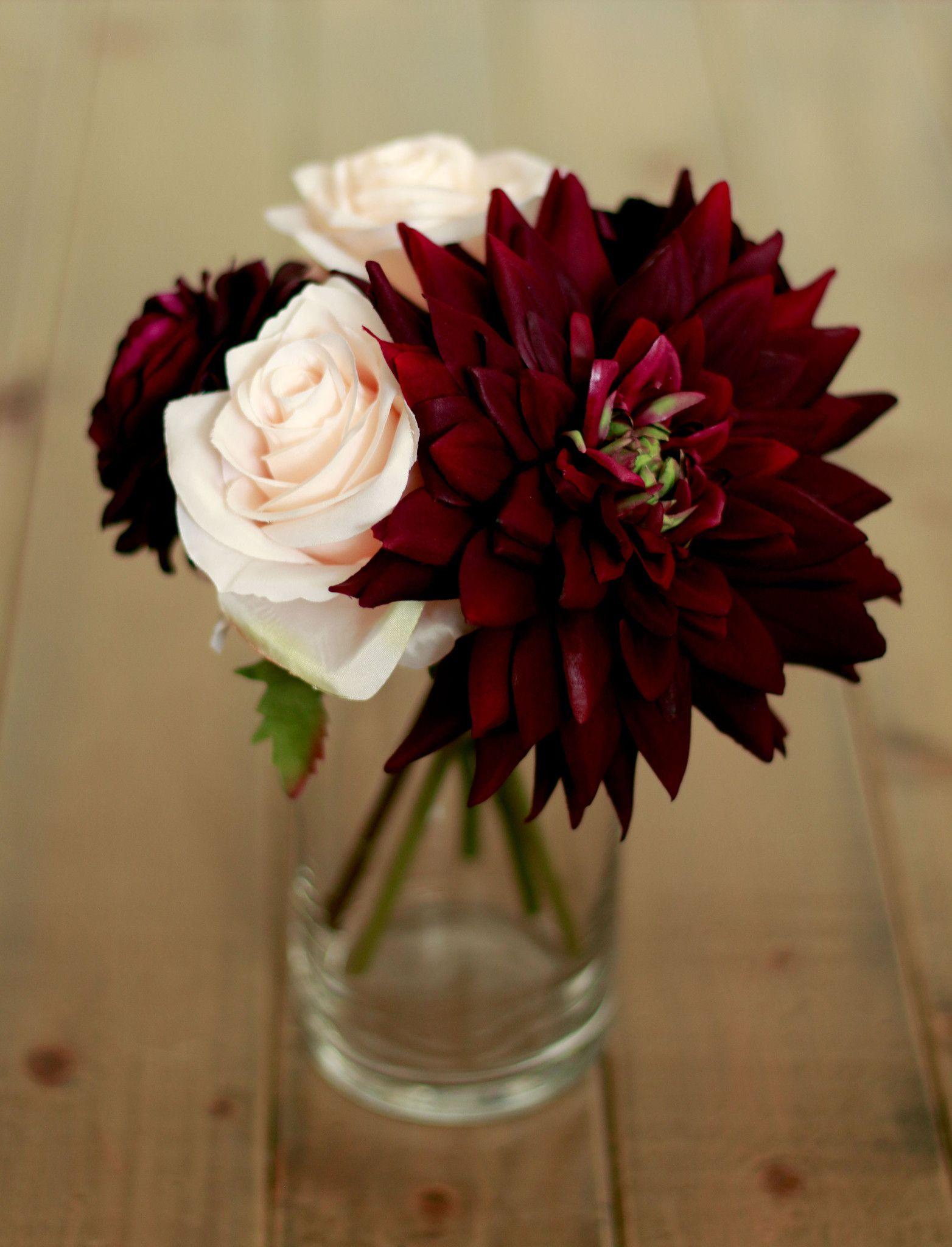 Plum burgundy dahlia centerpiece wedding centerpieces
