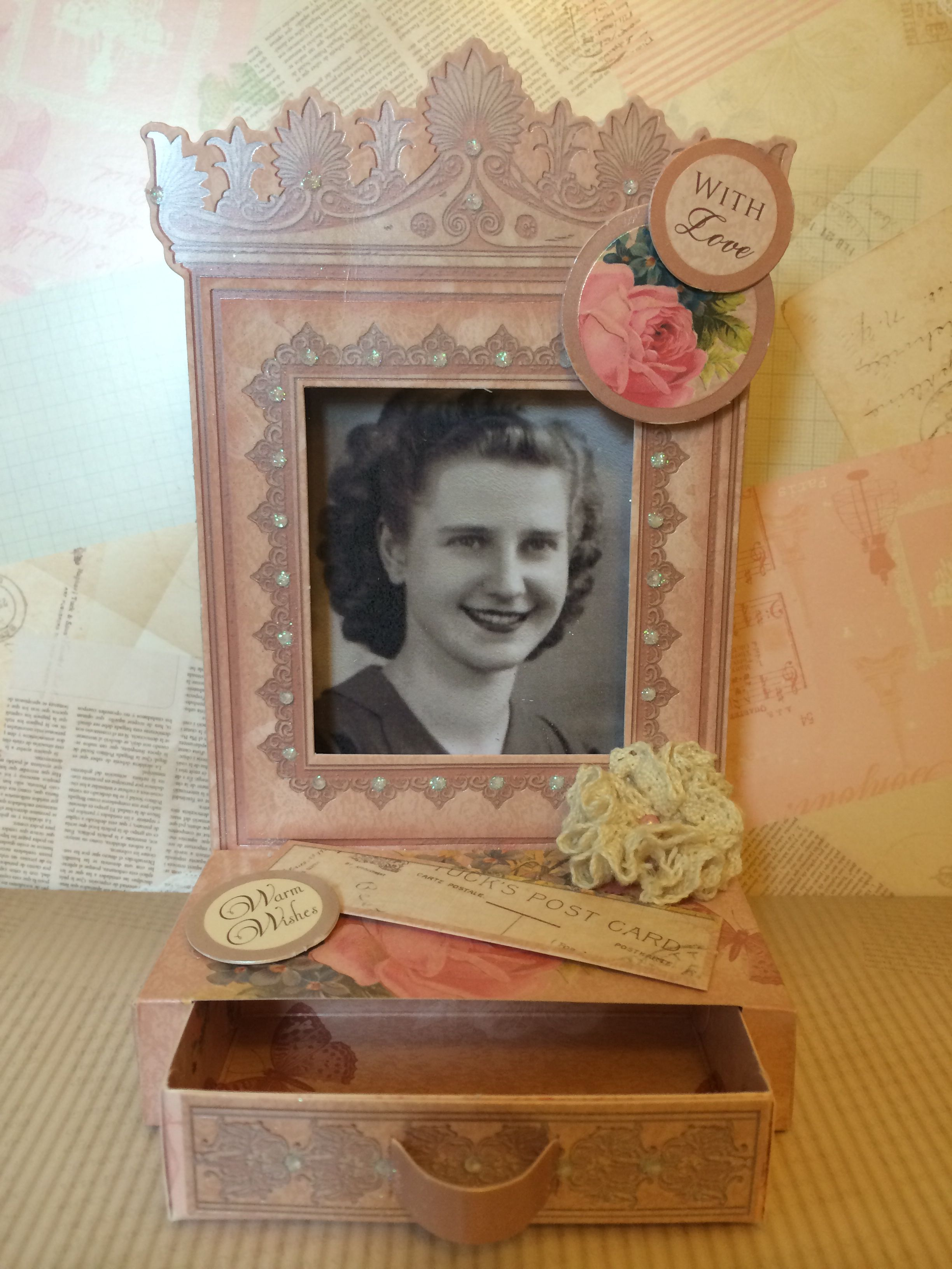 Hunkydory crafts antique chic collection project with picture of my grandma inset. It's for her 86th Birthday!