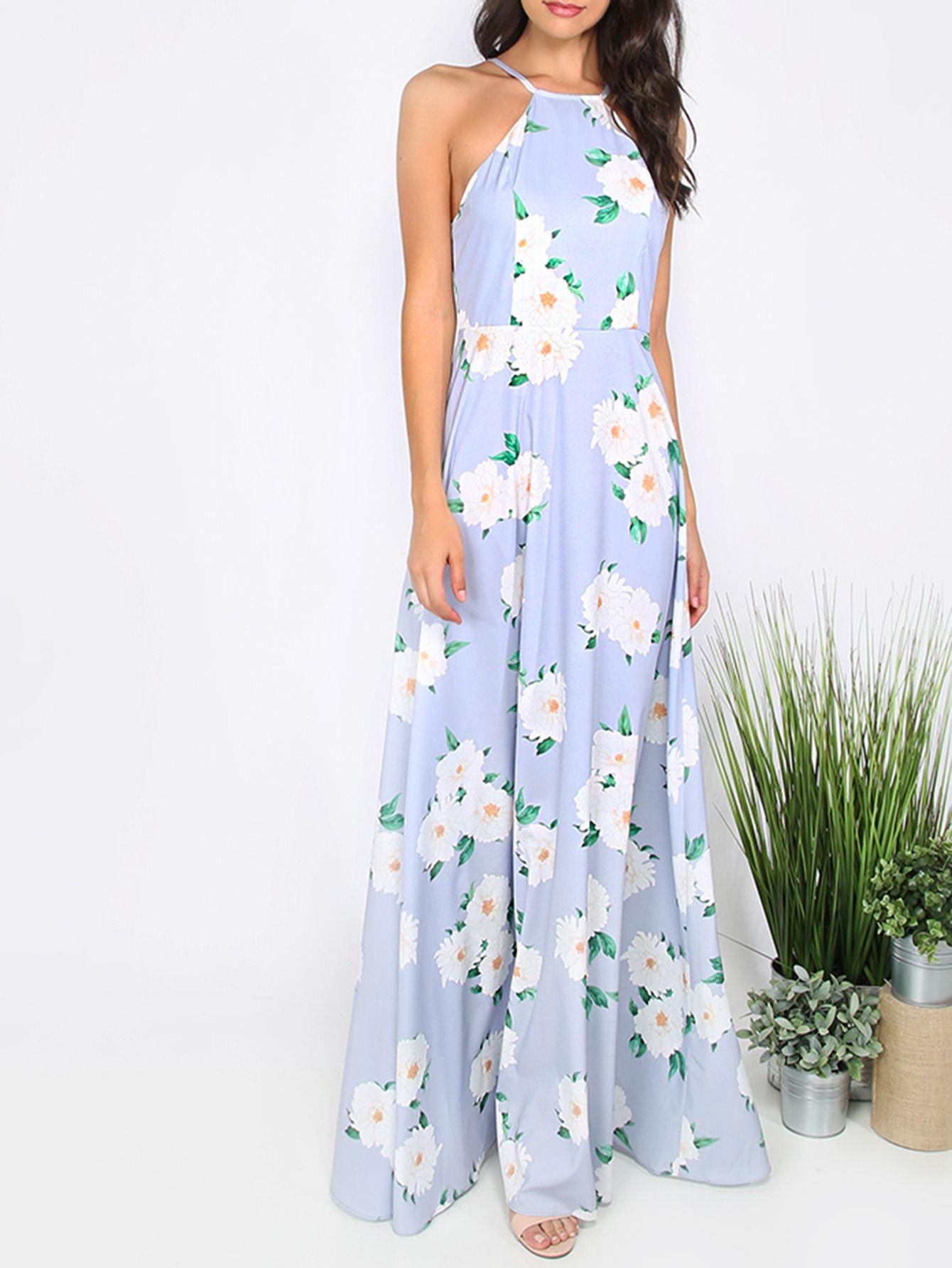 Vestido floral escote halter maxi | vestits | Pinterest | Vestiditos ...