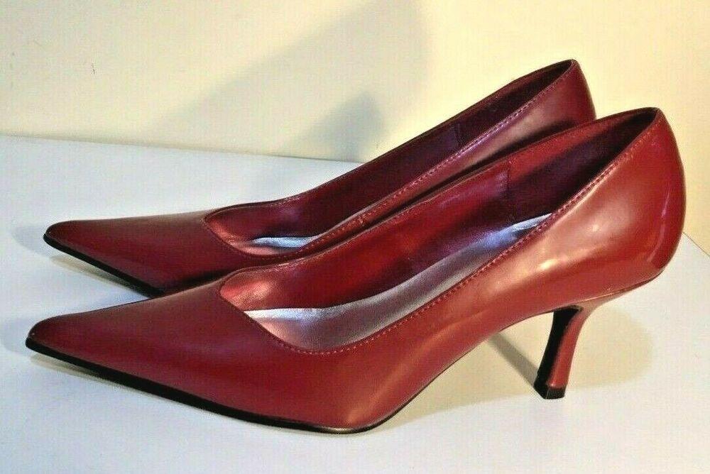 Size Au 6 Eur 37 Uk 4 Us 6 Women S Pointy Burgundy Kitten Heels Missshop Suitable Women High Heels Pump Pointy Toe Shoes Kitten Heel Shoes