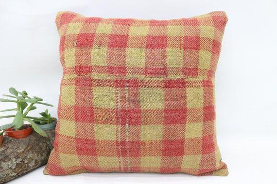 14x14 Needlepoint Kilim Pillow,Indoor Pillow,Pillow Cover,Plaid Pillow,Red Pillow,Corner Pillow,Smal