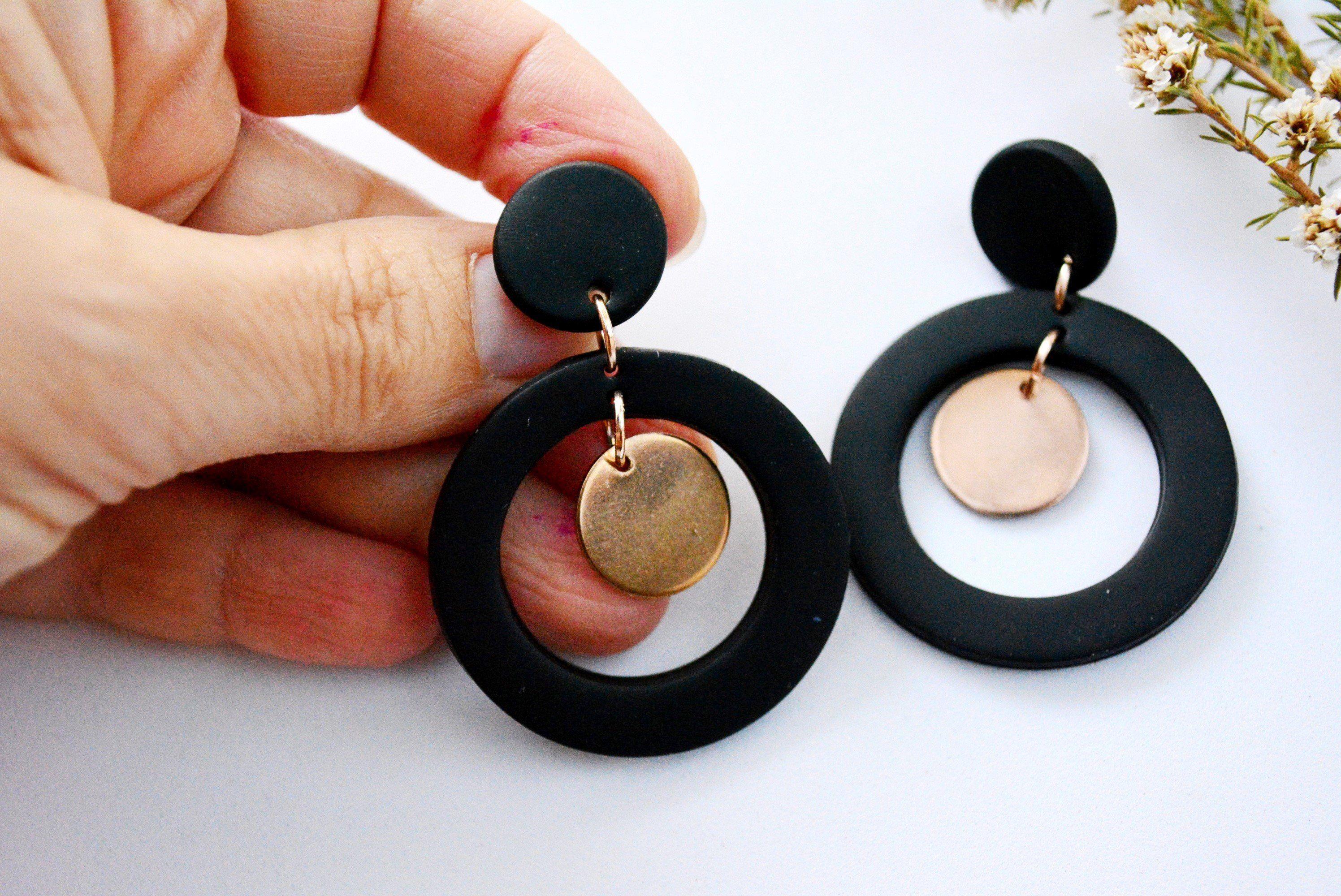 Handmade Geometric Statement Earrings Hypoallergenic Earrings, Polymer Clay Earrings, Bold Colourful Earring, Fun Modern Earrings BURRA