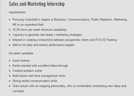Sales and Marketing Internship Resumes and questions can be - quick learner resume
