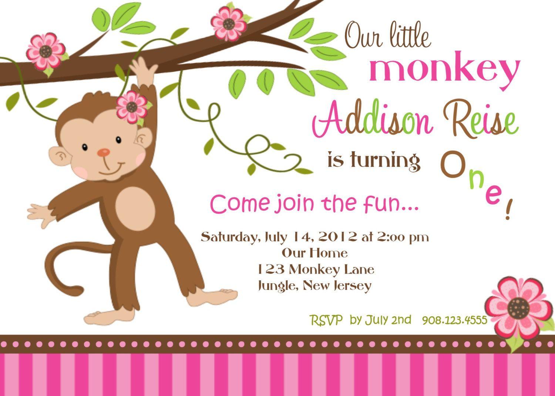 happy monkey personalized custom digital first birthday invitation ...