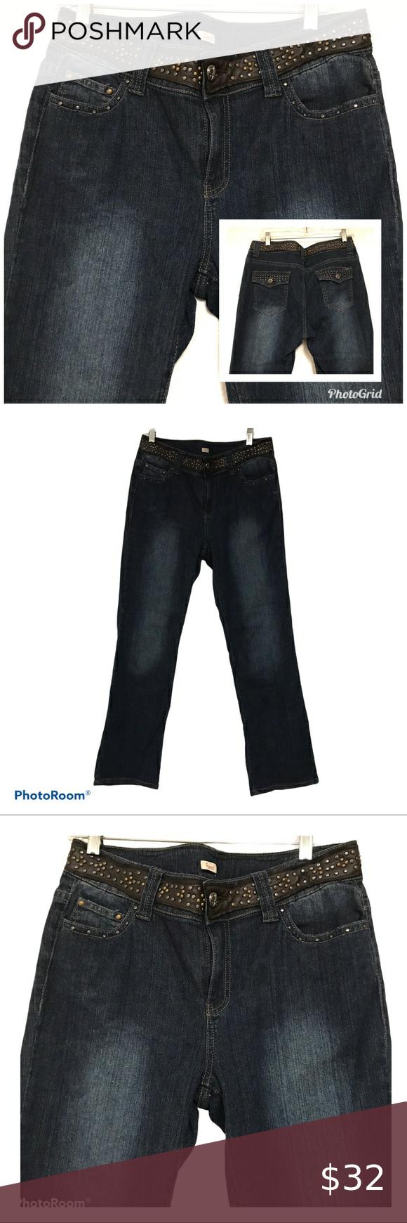 Reba Dark Blue Jean Denim Straight Leg Size 10 Dark Blue Jeans Blue Jeans Denim Jeans