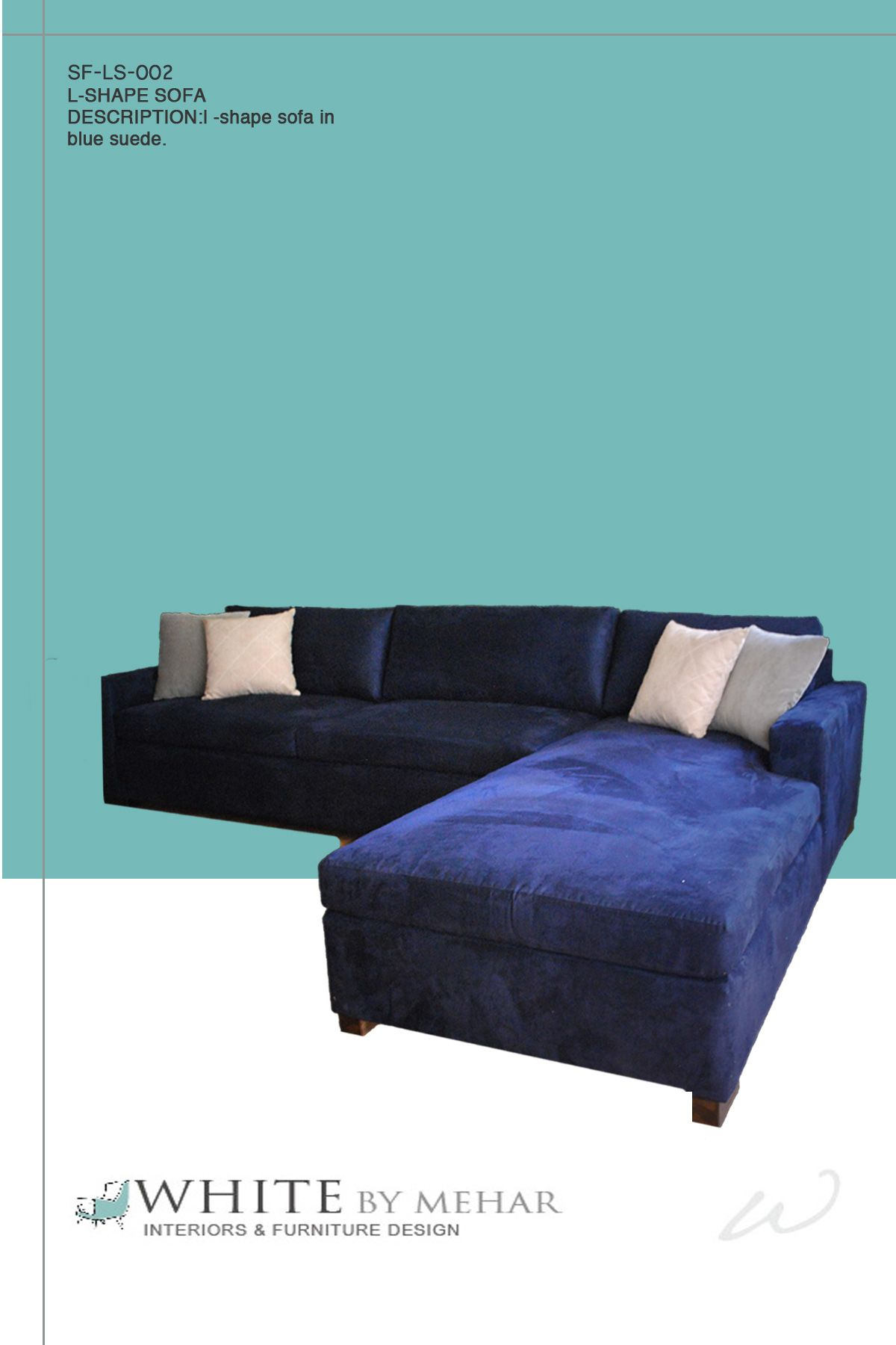 L Shape Sofa In Blue Suede | L Shape Sofas By White By Mehar