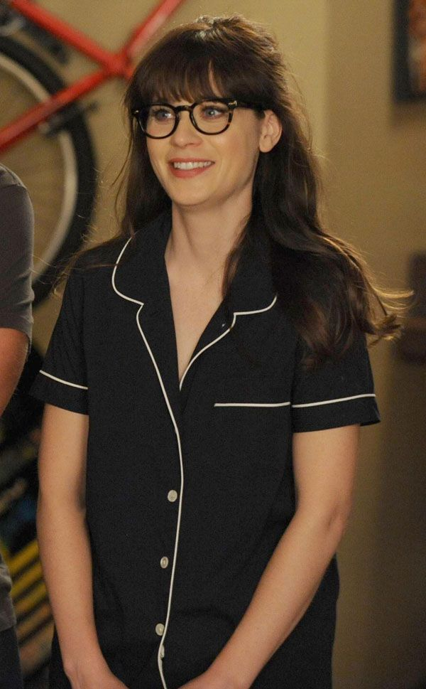 Zooey Deschanel s Navy blue pajamas with white trim on New Girl. Outfit  details  http e2b11d43f
