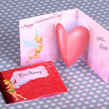 tinker bells valentines day pop up card click to download printable template - Send A Valentines Card