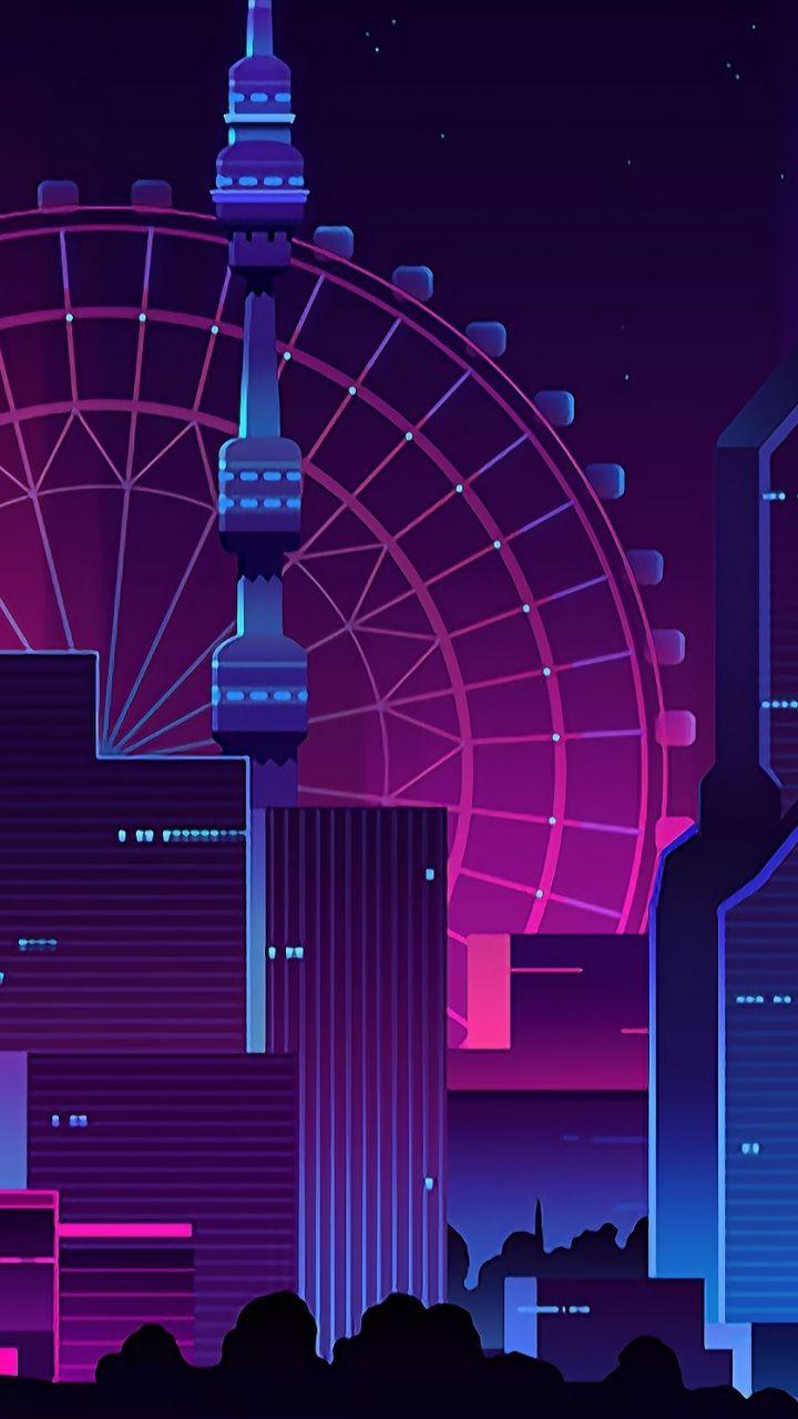 Cityscape, buildings, Ferris wheel, 720x1280 wallpaper