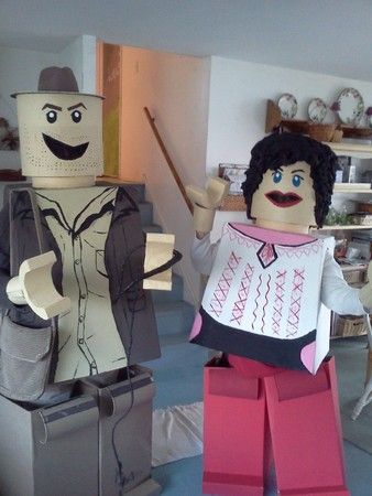 Raiders of the Lost Candy! Lego Indiana Jones and Lego Marion are ready to go off and discover all the missing M and lost lollipops. We had so much fun creating these crazy characters using foamcore bodies, cement form heads, cardboard legs and foam. Featuring Dan Wagner as Indy and Sue Wagner as Marion. #costumes