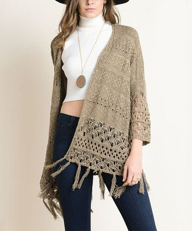 Another great find on #zulily! Olive Fringe Knit Open Cardigan #zulilyfinds