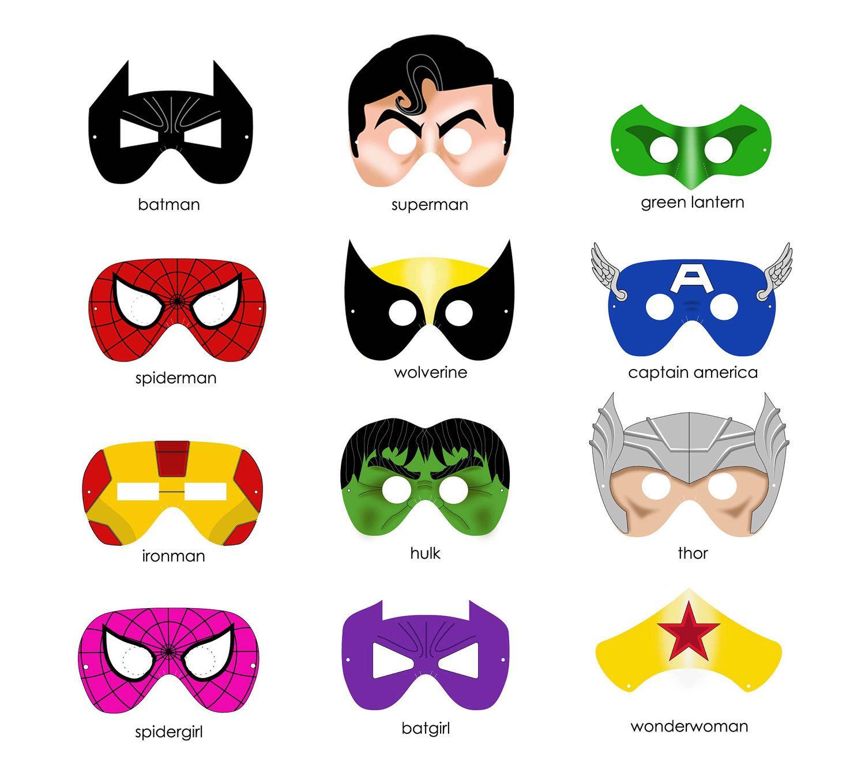 6 SUPERHERO MASKS printable .pdf files. Includes SIX mask designs ...