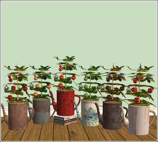 Tomatoes in a tea kettle- Comes with six tea kettle textures and seven tomato colors. | Chimerical | and Many other decorative plants in things