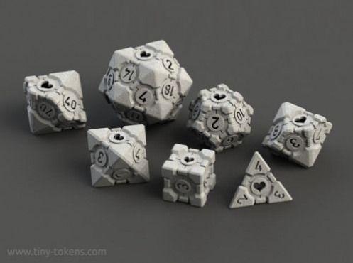 Companion Cube polyhedral dice via reddit #videogames #video