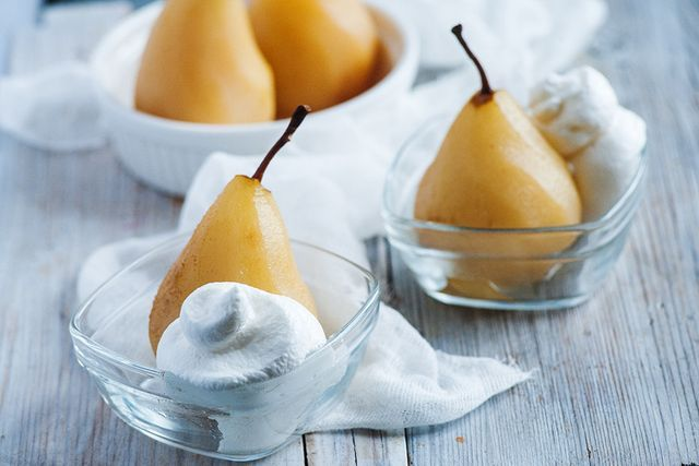 Our Poached Pear with Coconut Cream recipe is a very light and simple dessert that isn't overly sweet. The pears are gently poached in a sweet wine and apple juice mixture, along with cinnamon, vanill