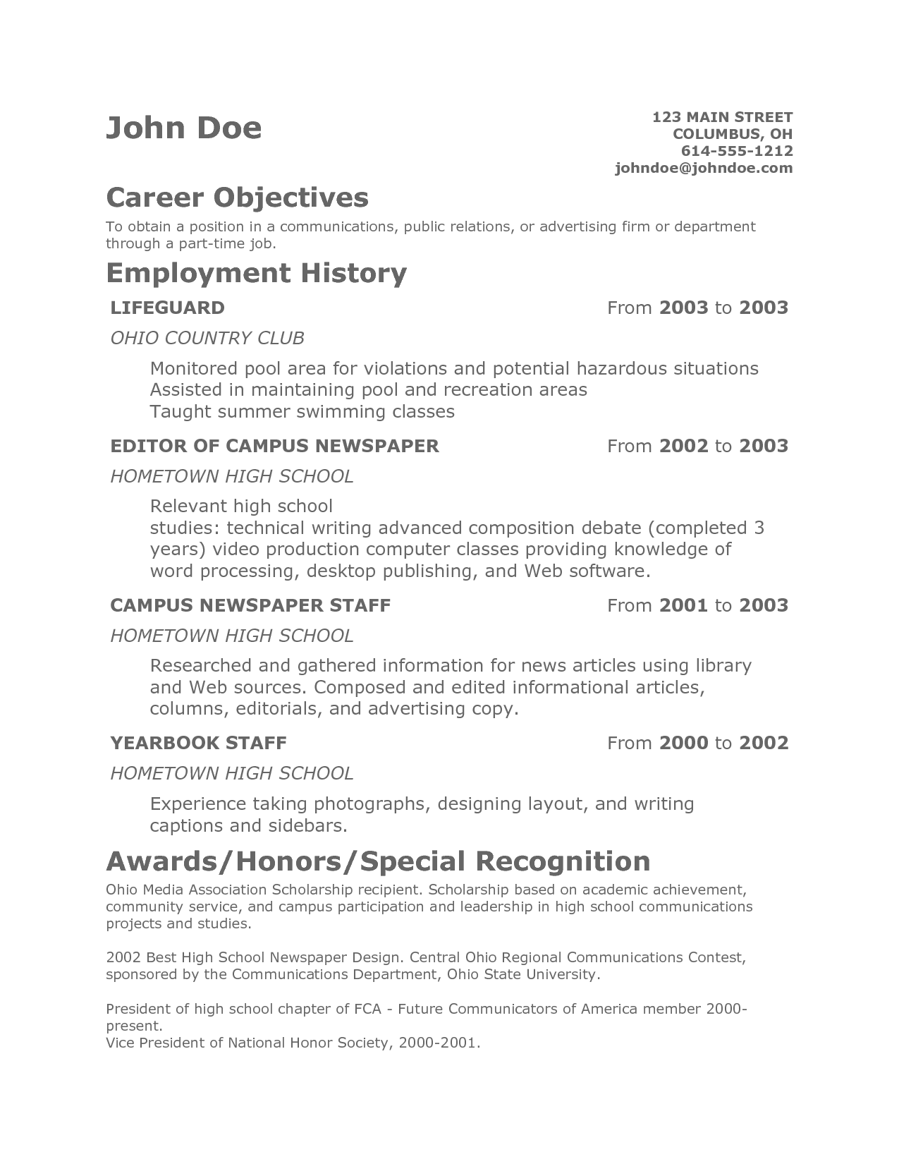 A Teenage Resume Examples Resume objective examples