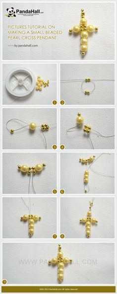 En rhed ando pearls tutorials and pendants pictures tutorial on making a small beaded pearl cross pendant aloadofball Image collections