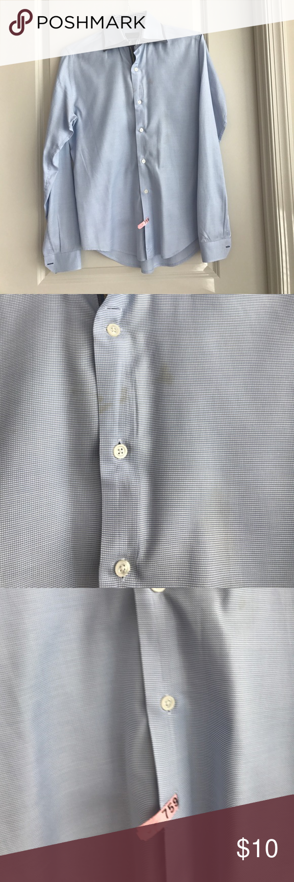 Zara flannel shirt mens  Zara slim fit man shirt Dry cleaned but stains around the chest See