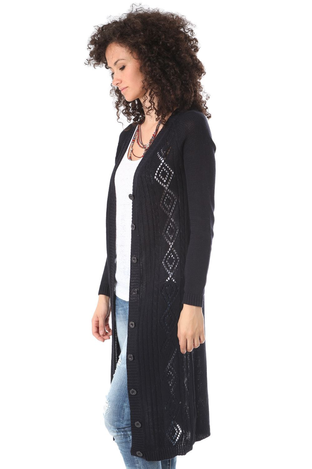 Navy blue crochet long line cardigan - 49,90 € - https://q2shop ...