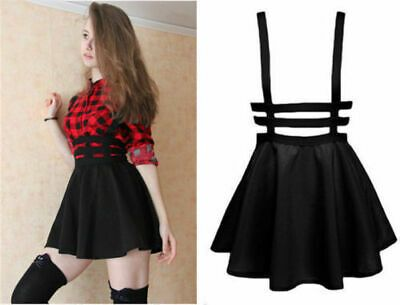 Details about Kawaii Clothing Cute Ropa Korean Japanese Harajuku Skirt Falda Suspender Black