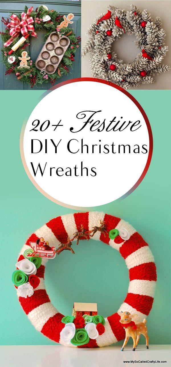 20+ Festive DIY Christmas Wreaths Easy holiday decorations