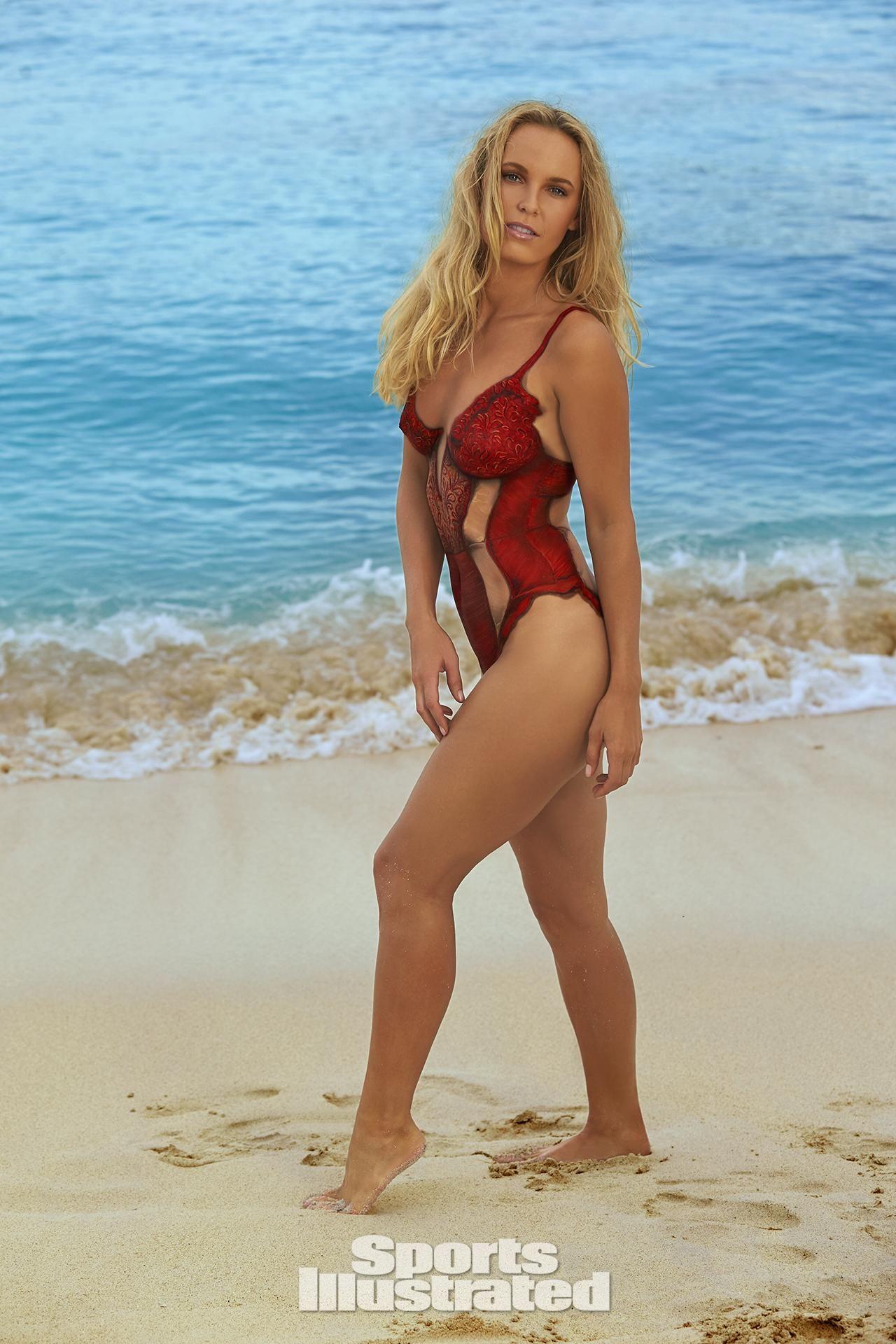 Caroline Wozniacki Swimsuit Body Paint Photos Sports Illustrated Swimsuit  Sports Illustrated Swimsuit