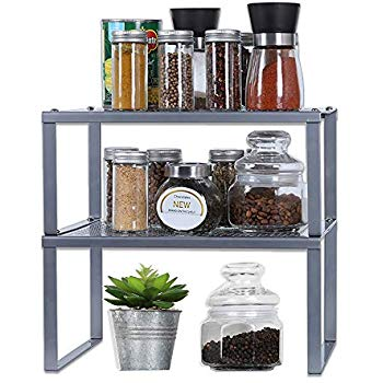 Amazon Com Simplehouseware Expandable Stackable Kitchen Cabinet And Counter Shelf Organizer Silver Kitchen Dining Opruimen
