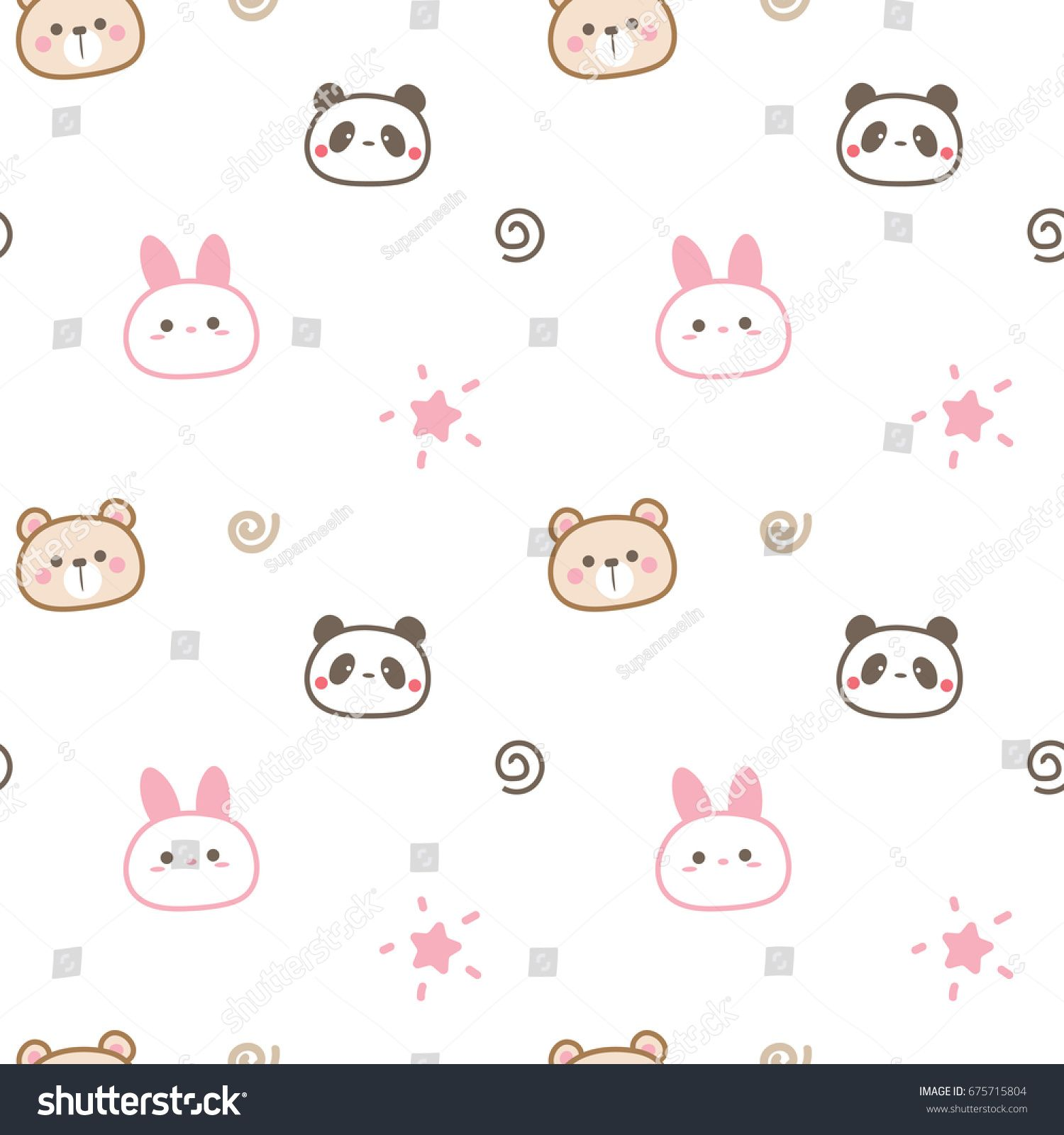 Seamless Pattern Of Cute Cartoon Animal Head White