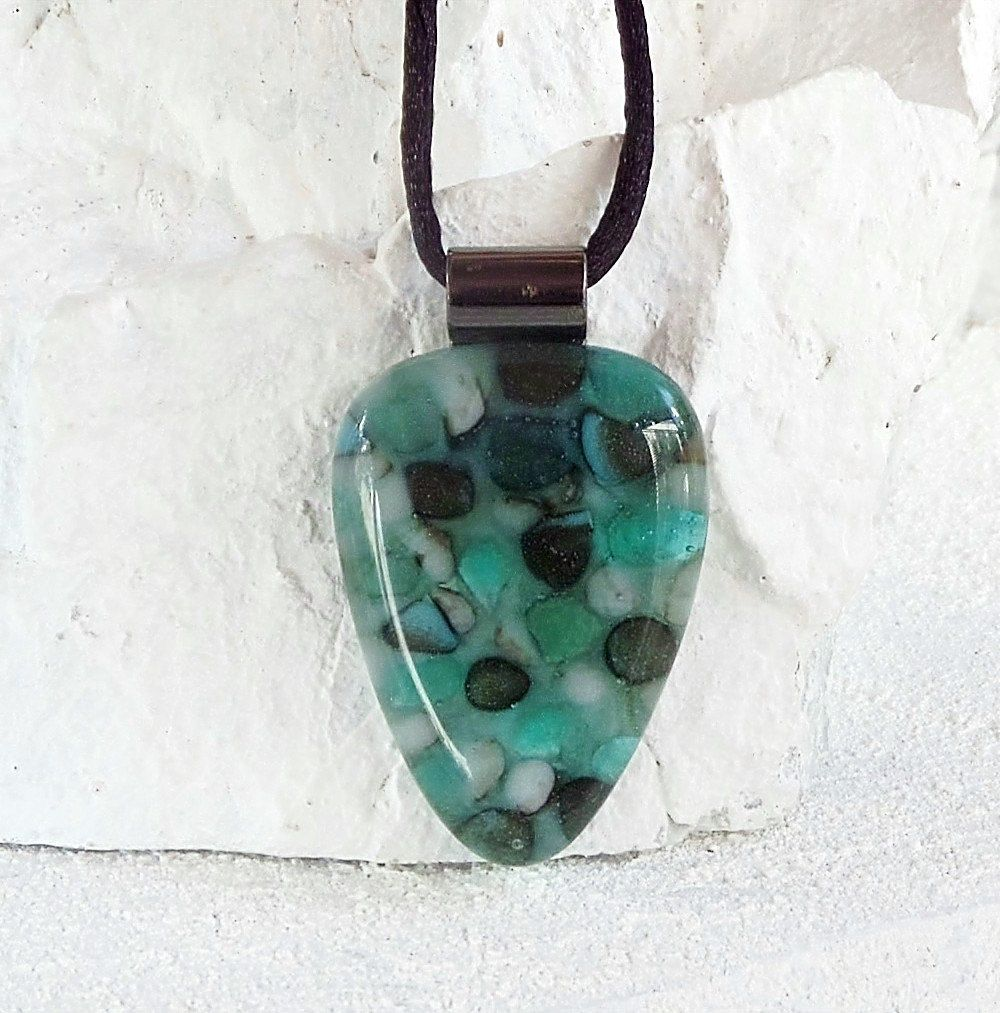 On sale transparent floating greens pebble style handmade glass on sale transparent floating greens pebble style handmade glass jewelry fused glass pendant necklace e408 aloadofball Gallery