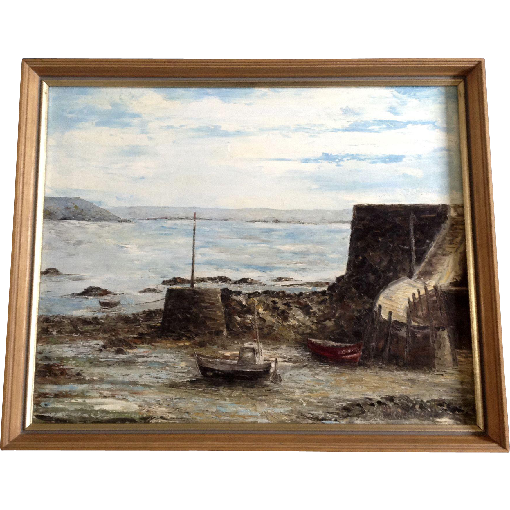 Elizabeth Brouard, Ship Harbor Oil painting on Canvas Board Signed ...