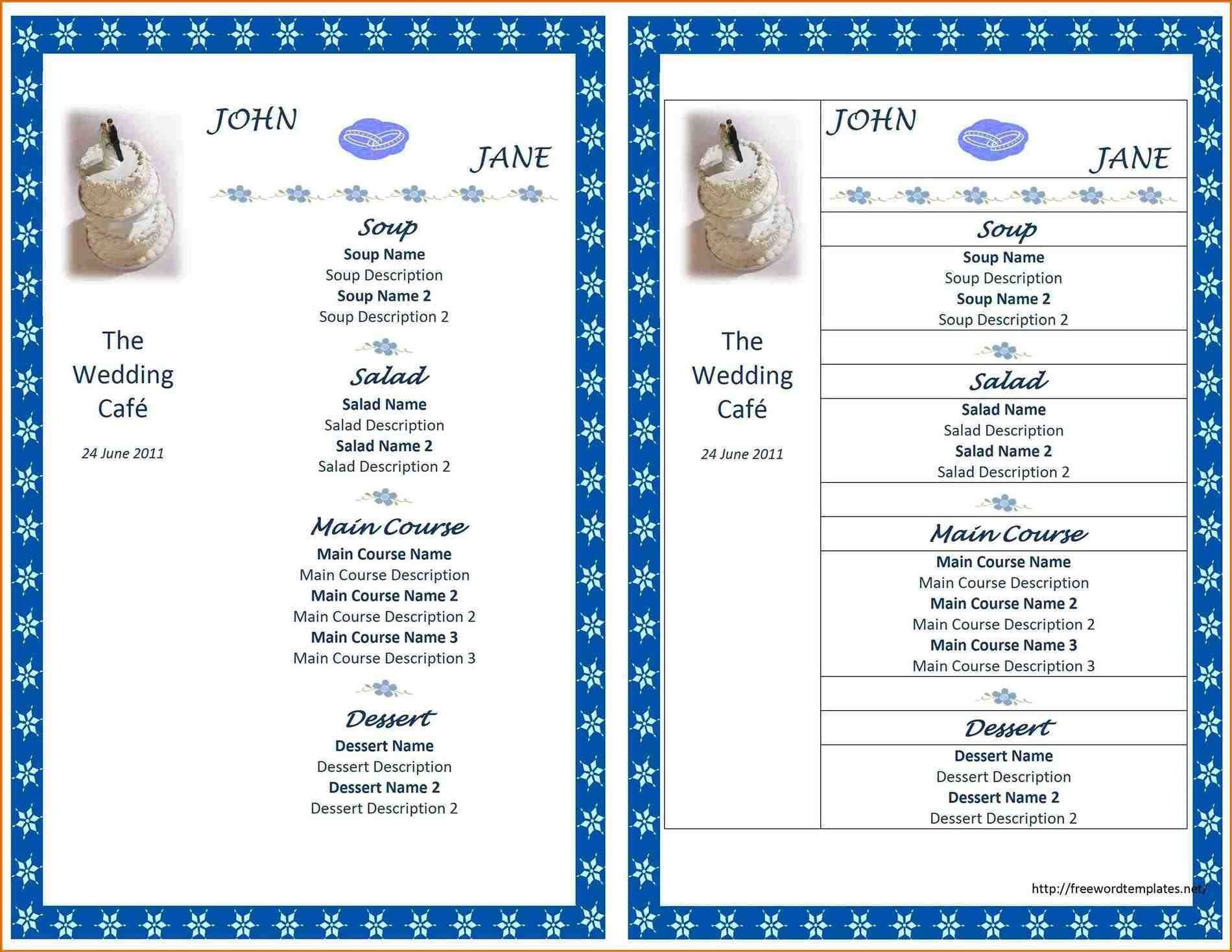 Free Download Catering Menu Template Funfndroid