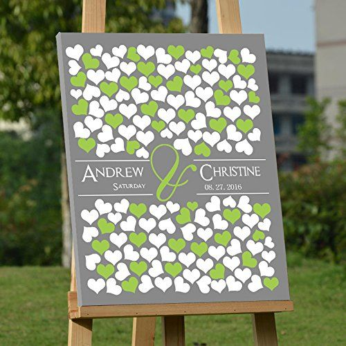 Modern Canvas Wall Art for Wedding Personalized Guest Boo...