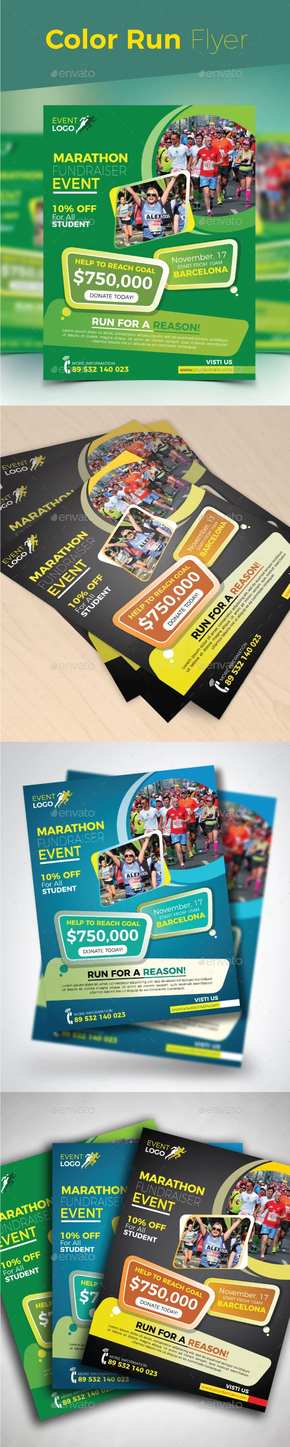 color run flyer ai illustrator flyer template and template