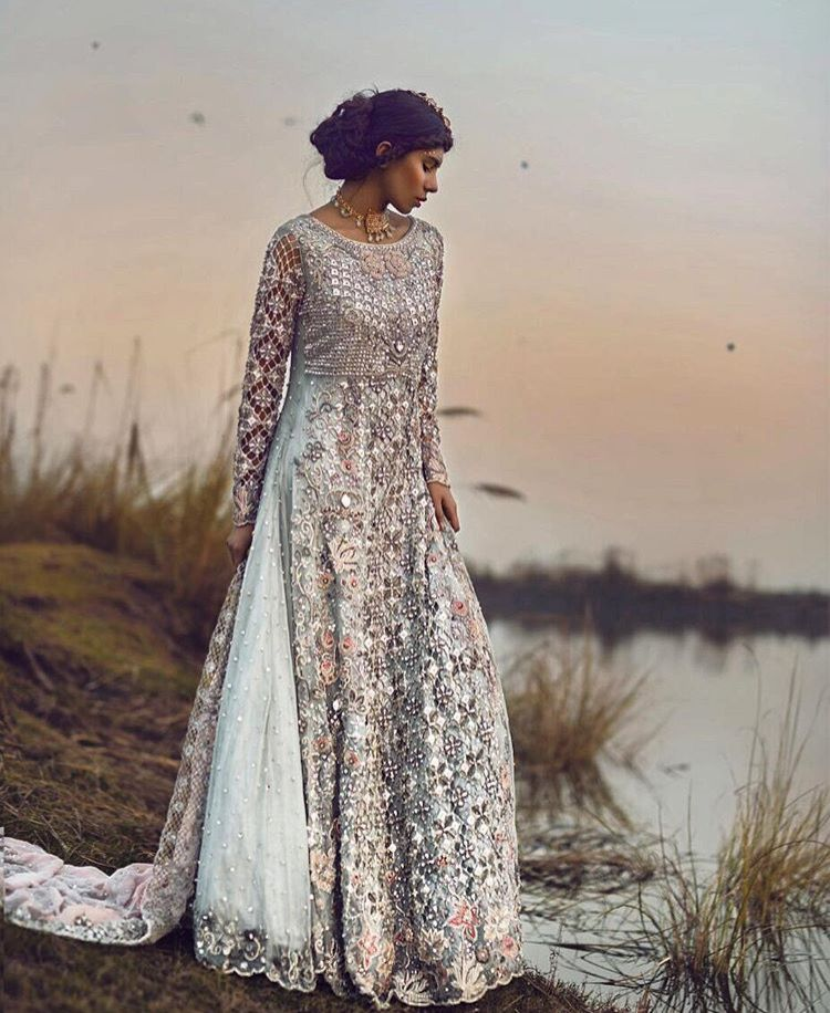 Pakistani bridal dress silver blue simple elegant for Blue silver wedding dress
