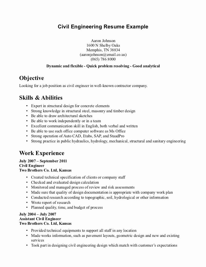 Engineering Student Resume Examples Beautiful Civil
