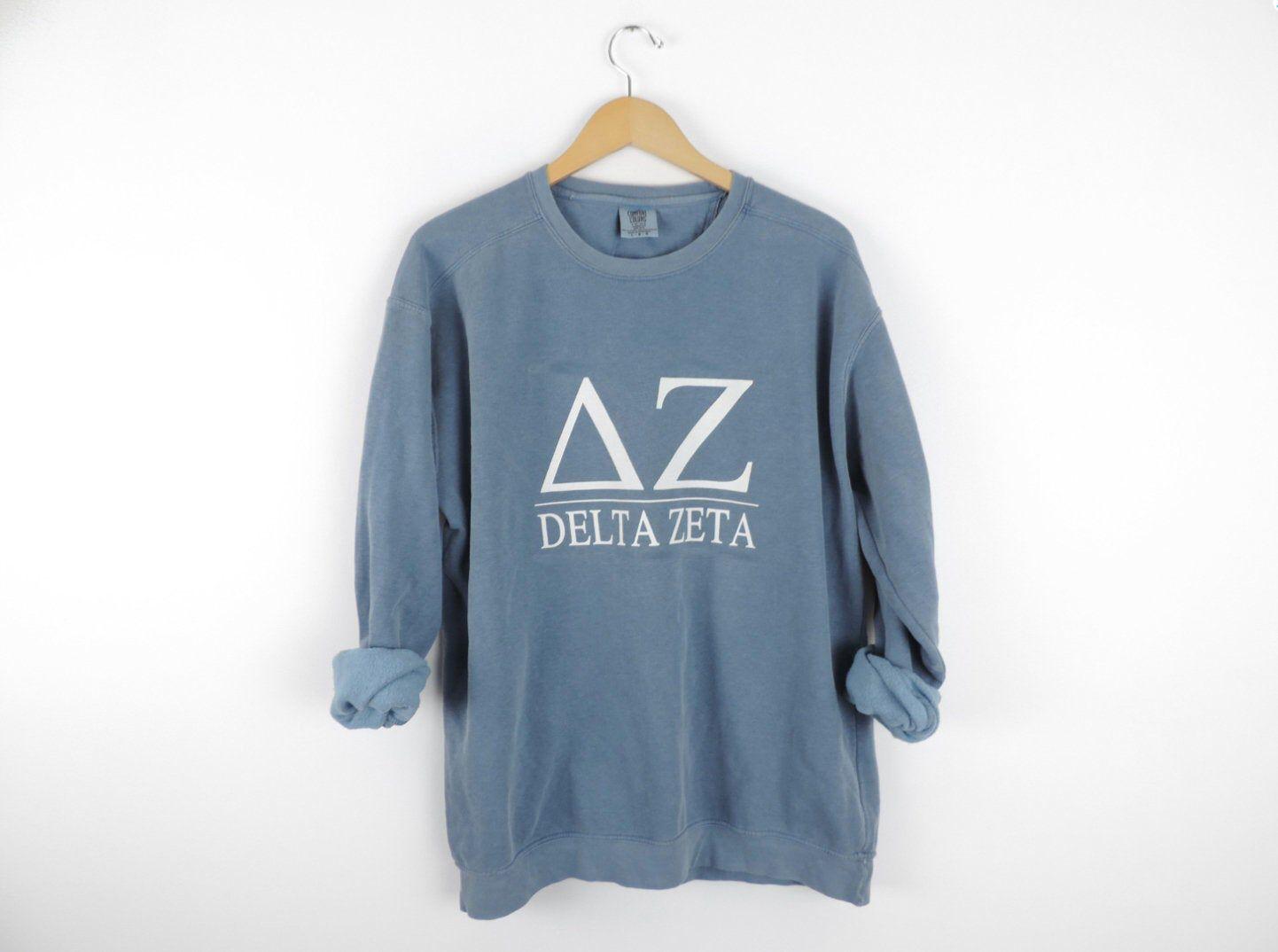New Delta Zeta Comfort Colors Stripe Crewneck Sweatshirt Size
