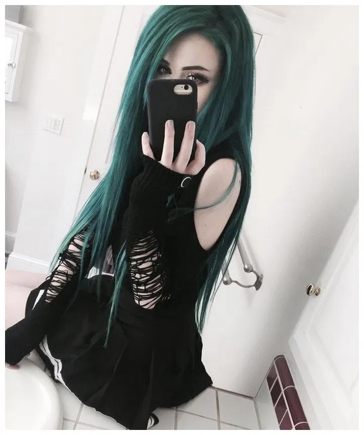 45 Black Outfits Ideas Worth Checking Out Home In Fashion Green Hair Emo Hair Emo Scene Hair