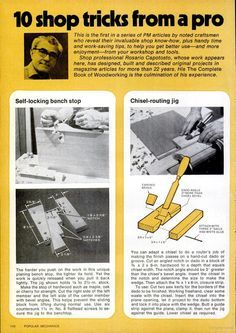 Self-Locking Bench Stop and Chisel -Routing Jig. Popular Mechanics, circa August 1977, page 110