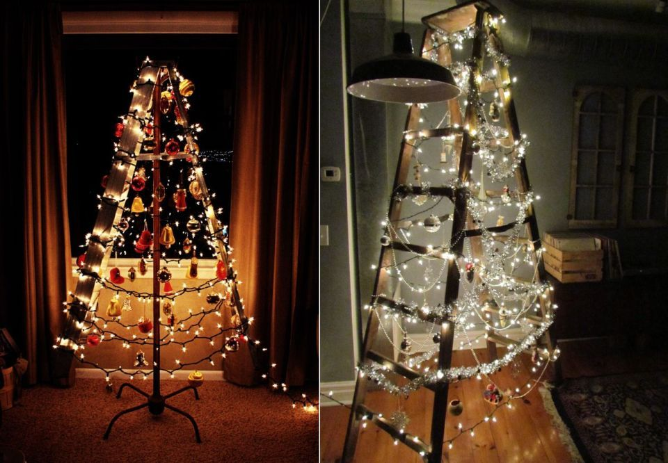 last minute christmas decorating try wrapping tree lights around a ladder and hanging ornaments