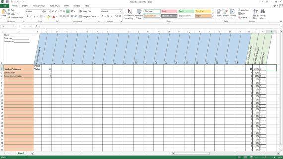 Excel Gradebook Points System Grade Book Template Grade Book Templates