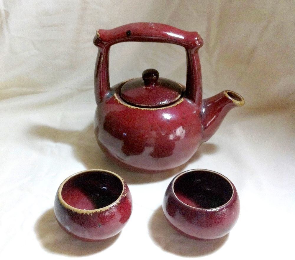Vintage Asian Japanese Clay Teapot 2 Cup Set Maroon Clay Teapots Tea Pots Cupping Set