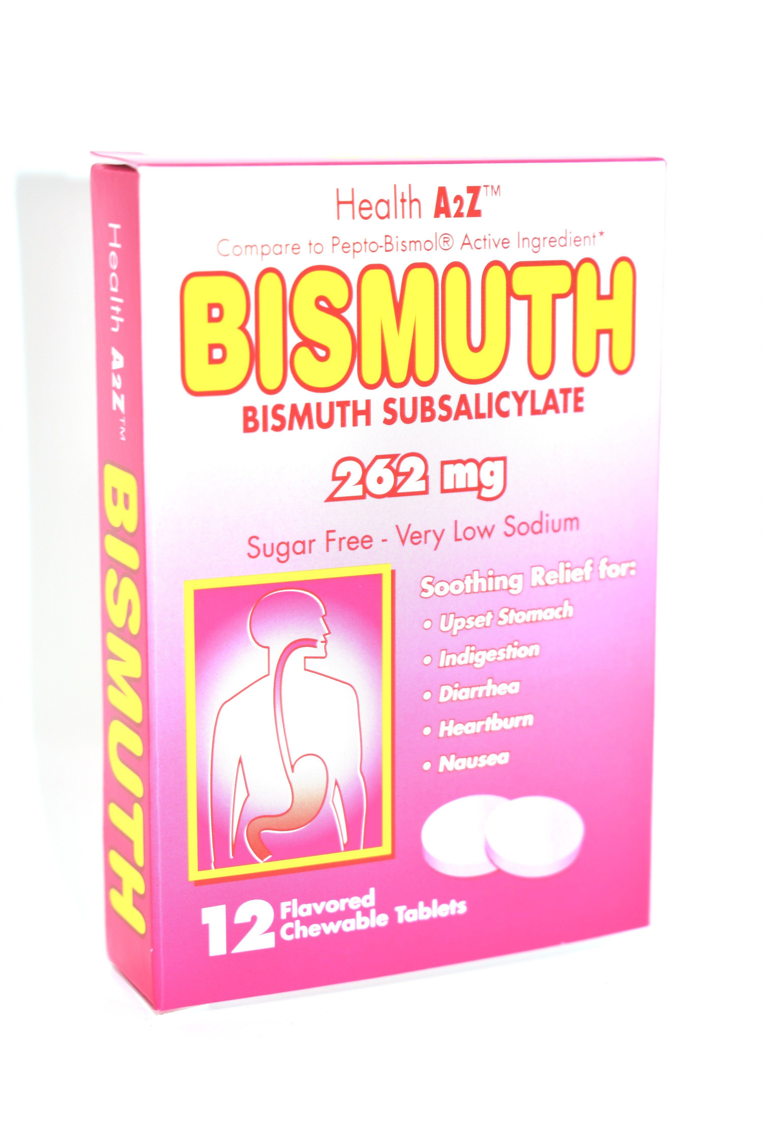 Health a2z bismuth 262 mg 12 chewable tablets tablet